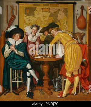 Merry Company. Date/Period: 1620. Painting. Oil on canvas. Height: 726 mm (28.58 in); Width: 654 mm (25.74 in). Author: Willem Pieterszoon Buytewech. BUYTEWECH, WILLEM PIETERSZ. - Stock Photo