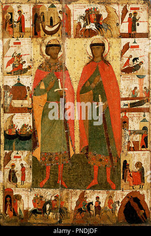Boris and Gleb with Scenes from Their Lives. Date/Period: 2nd half of the 14th century. Painting. Tempera on wood. Height: 134 cm (52.7 in); Width: 89 cm (35 in). Author: Anonymous Russian icon painter. Russian icon. - Stock Photo