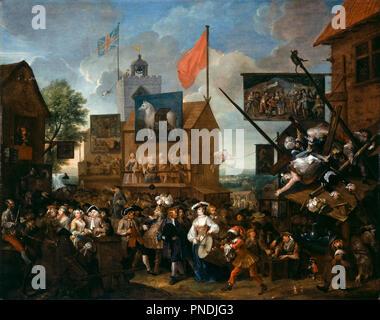 Southwark Fair. Date/Period: 1733. Painting. Oil on canvas. Width: 151.1 cm. Height: 120.7 cm. Author: William Hogarth. HOGARTH, WILLIAM. - Stock Photo