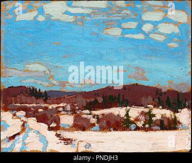 Early Spring. Date/Period: 1917. Painting. Oil on wood panel. Width: 26.9 cm. Height: 21.5 cm (overall). Author: TOM THOMSON. - Stock Photo