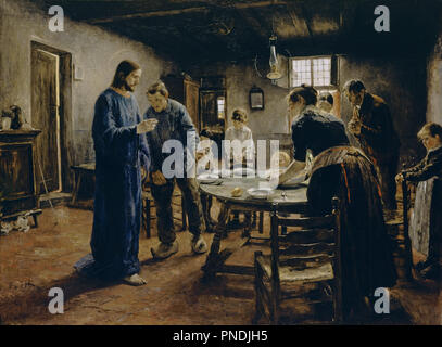 Das Tischgebet / The Mealtime Prayer. Date/Period: 1885. Painting. Oil on canvas. Height: 130 cm (51.1 in); Width: 165 cm (64.9 in). Author: FRITZ VON UHDE. UHDE, FRITZ VON. - Stock Photo
