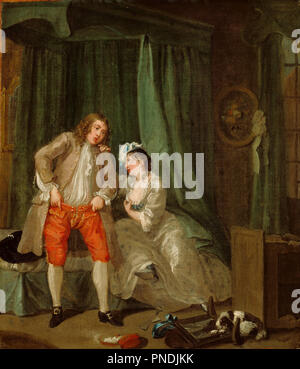 After. Date/Period: Ca. 1730 - 1731. Painting. Oil on canvas. Height: 38.7 cm (15.2 in); Width: 33.7 cm (13.2 in). Author: William Hogarth. - Stock Photo