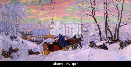 Shrovetide. Date/Period: 1916. Painting. Oil on canvas Oil on canvas. Height: 890 mm (35.03 in); Width: 1,905 mm (75 in). Author: Boris Kustodiev. Kustodiev, Boris Mihajlovic. Kustodiev, Boris Michaylovich. - Stock Photo