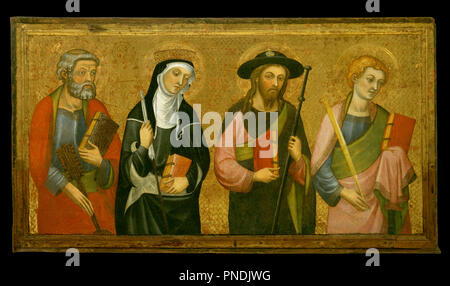 Saint Peter, Saint Claire, Saint James the Great and Saint John the Evangelist. Date/Period: Ca. 1385. Painting. Tempera and gold leaf on wood. Height: 815 mm (32.08 in); Width: 1,465 mm (57.67 in). Author: PERE SERRA. - Stock Photo
