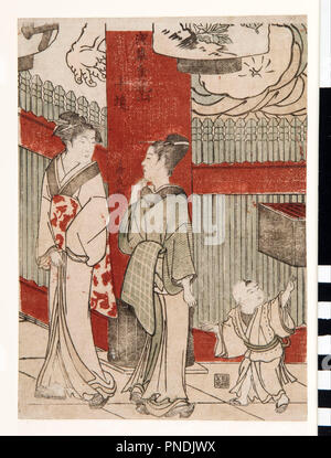 Woodcut. Date/Period: 1783. Woodcut. Height: 230 mm (9.05 in); Width: 160 mm (6.29 in). Author: Torii Kiyonaga. - Stock Photo