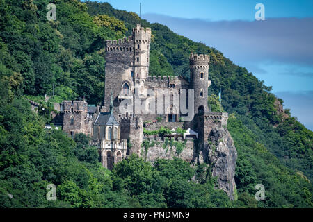 Rheinstein Castle from the Rhine River in Germany - Stock Photo