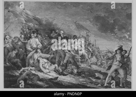 Battle of Bunker Hill (June 17, 1775). Artist: After John Trumbull (American, Lebanon, Connecticut 1756-1843 New York); Johann Gotthard Muller (German, Bernausen 1747-1830 Stuttgart). Dimensions: image: 19 13/16 x 29 5/8 in. (50.3 x 75.2 cm)  plate: 23 3/8 x 32 5/8 in. (59.4 x 82.9 cm)  sheet: 23 3/8 x 34 in. (59.4 x 86.4 cm). Publisher: Published London by Antonio Cesare Poggi (Italian, active London and Paris, 1769-?1836). Date: ca. 1798. Museum: Metropolitan Museum of Art, New York, USA. - Stock Photo