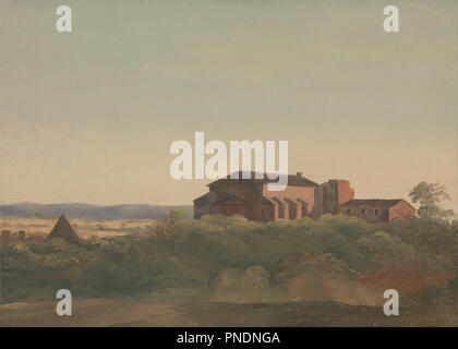 A View of the Church of S. Sabina and the Pyramid of Cestius, Rome. Date/Period: Ca. 1825. Painting. Oil on paper laid on canvas. Height: 276 mm (10.86 in); Width: 384 mm (15.11 in). Author: CHARLES LOCK EASTLAKE. - Stock Photo