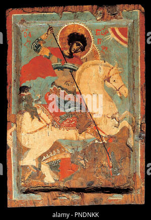 St George the dragon-slayer on horseback. Date/Period: 1550 - 1599. Icon. Height: 192 mm (7.55 in); Width: 203 mm (7.99 in). Author: Macedonian workshop. - Stock Photo