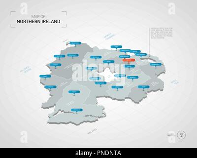 Stylized Vector Northern Ireland Map Showing Big Cities Capital