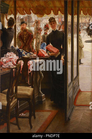 La demoiselle de magasin. Date/Period: 1878 - 1885. Unknown. Oil on canvas Oil on canvas. Height: 1,461 mm (57.51 in); Width: 1,016 mm (40 in). Author: Tissot, James. JAMES TISSOT (JACQUES-JOSEPH). Tissot, James Jacques Joseph. - Stock Photo