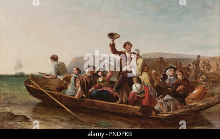 Emigration - the parting day 'Good Heaven! what sorrows gloom'd that parting day etc' Goldsmith. Date/Period: 1852. Painting. Oil on canvas. Height: 92 mm (3.62 in); Width: 153.70 mm (6.05 in). Author: THOMAS FALCON MARSHALL. - Stock Photo