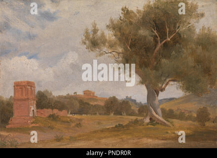 A View at Girgenti in Sicily with the Temple of Concord and Juno. Date/Period: Ca. 1818. Painting. Oil on paper mounted on canvas. Height: 203 mm (7.99 in); Width: 289 mm (11.37 in). Author: CHARLES LOCK EASTLAKE. - Stock Photo