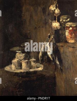 Stilleben mit Rebhühnern und Käse / Still Life with Partridges and Cheese. Date/Period: After 1884. Painting. Oil on canvas. Height: 76 cm (29.9 in); Width: 63 cm (24.8 in). Author: Carl Schuch. Schuch, Carl. - Stock Photo