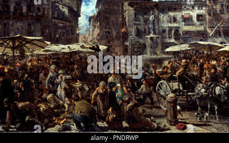 Piazza d'Erbe in Verona / Marketplace in Verona. Date/Period: 1884. Painting. Oil on canvas. Height: 73.5 cm (28.9 in); Width: 127 cm (50 in). Author: ADOLPH VON MENZEL. Menzel, Adolph Friedrich, von. - Stock Photo