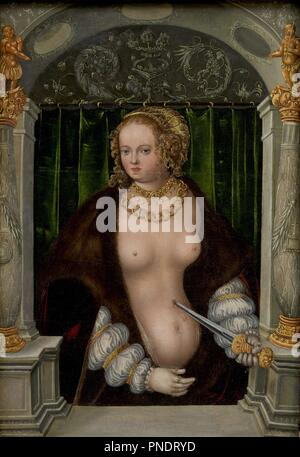The Suicide of Lucretia. Date/Period: Ca. 1535. Painting. Oil on panel. Height: 39.5 cm (15.5 in); Width: 27.5 cm (10.8 in). Author: Cranach the Elder, Lucas. Master of the Mass of Saint Gregory. - Stock Photo
