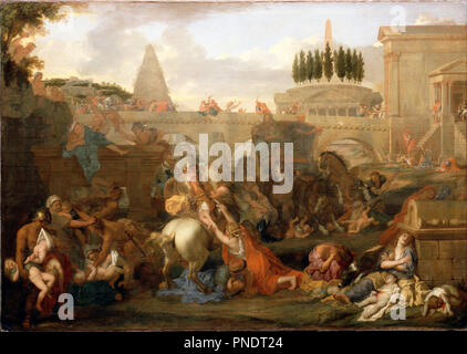 The Massacre of the Innocents. Date/Period: Mid-1660s. Painting. Oil on canvas Oil. Height: 1,330 mm (52.36 in); Width: 1,874 mm (73.77 in). Author: LE BRUN, CHARLES. Charles Le Brun. - Stock Photo