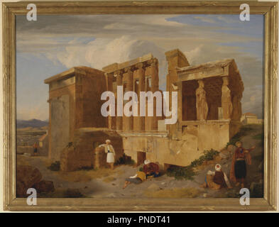 The Erechtheum, Athens, with Figures in the Foreground. Date/Period: 1821. Painting. Oil on canvas. Height: 670 mm (26.37 in); Width: 895 mm (35.23 in). Author: CHARLES LOCK EASTLAKE. - Stock Photo