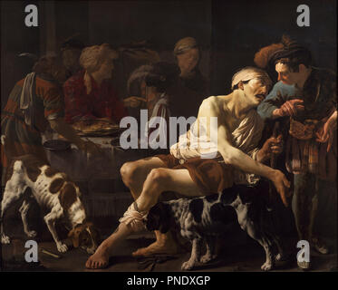 The Rich Man and the Poor Lazarus. Date/Period: 1625. Painting. Height: 167.70 mm (6.60 in); Width: 207.50 mm (8.16 in). Author: Hendrick Ter Brugghen. TER BRUGGHEN HENDRICK / TERBRUGGHEN HENDRICK. Terbrugghen, Hendrick Jansz. - Stock Photo
