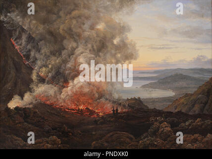 Eruption of the Volcano Vesuvius. Date/Period: 1821. Painting. Oil on canvas. Height: 983 mm (38.70 in); Width: 1,375 mm (54.13 in). Author: J. C. DAHL. DAHL, JOHAN CHRISTIAN CLAUSEN. - Stock Photo