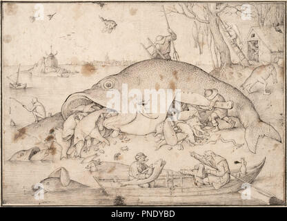 The Big Fish Eat the Little Fish. Date/Period: 1556. Brush and pen and gray and black ink, transfer lines. Ink. Author: Pieter Brueghel The Elder. Bruegel (Brueghel), Pieter, the Elder. - Stock Photo