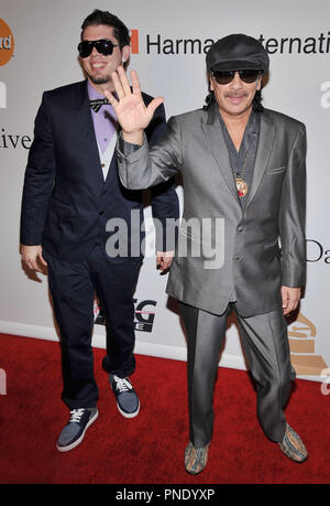 Carlos Santana & Son Salvador Santana at The Recording Academy and Clive Davis 2010 Pre-Grammy Gala held at the Beverly Hilton Hotel in Beverly Hills, CA. The event took place on Saturday, January 30, 2010. Photo by PRPP_Pacific Rim Photo Press. /PictureLux File Reference # SalvadorSantana_CarlosSantana_13010_1PLX   For Editorial Use Only -  All Rights Reserved - Stock Photo