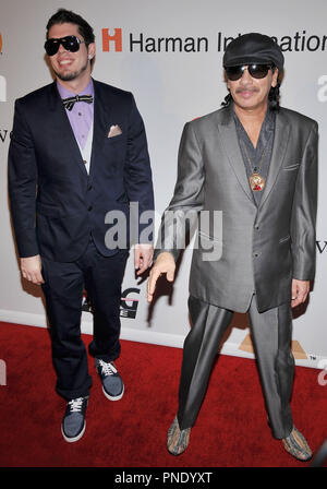 Carlos Santana & Son Salvador Santana at The Recording Academy and Clive Davis 2010 Pre-Grammy Gala held at the Beverly Hilton Hotel in Beverly Hills, CA. The event took place on Saturday, January 30, 2010. Photo by PRPP_Pacific Rim Photo Press. /PictureLux File Reference # SalvadorSantana_CarlosSantana_13010_2PLX   For Editorial Use Only -  All Rights Reserved - Stock Photo