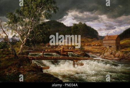 Hellefossen near Hokksund. Date/Period: 1838. Painting. Olje på lerret. Width: 155 cm. Height: 98 cm. Author: JOHAN CHRISTIAN DAHL. - Stock Photo