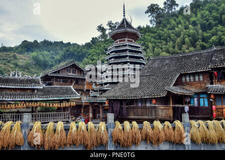 An old village of Dong minority in Guizhou province in China with traditional drum tower in the background and sheafs of rice drying on the sun. - Stock Photo