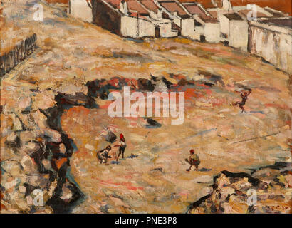 The Cricket Match (Malay Quarter). Date/Period: 1924. Modern Paintings. Oil on wood. Height: 445 mm (17.51 in); Width: 600 mm (23.62 in). Author: Harry Caldecott. - Stock Photo