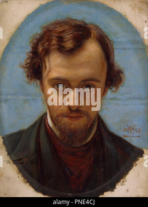 Portrait of Dante Gabriel Rossetti at 22 years of Age. Date/Period: 1882/1883. Painting. Oil on panel. Width: 229 mm. Height: 302 mm. Author: William Holman Hunt. - Stock Photo