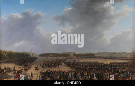 Parade Celebrating the End of Military Action in the Kingdom of Poland on Tsaritsa Meadow in St Petersburg on 6 october 1831. Date/Period: 1833 - 1837. Painting. Oil on canvas Oil on canvas. Height: 2,120 mm (83.46 in); Width: 3,450 mm (11.31 ft). Author: Grigory Chernetsov. Chernetsov, Grigori Grigorievich. - Stock Photo