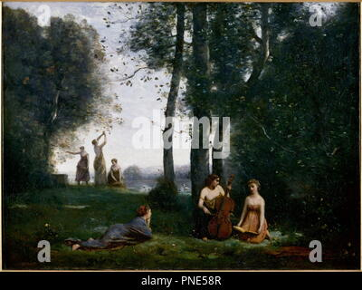 Le Concert champêtre. Date/Period: 1857. Painting. Oil on canvas. Height: 98 cm (38.5 in); Width: 130 cm (51.1 in). Author: Corot, Jean-Baptiste-Camille. Camille Corot. - Stock Photo