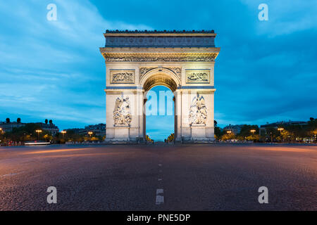 Arc de Triomphe and Champs Elysees, Landmarks in center of Paris, at night. Paris, France - Stock Photo