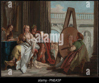 Alexander the Great and Campaspe in the Studio of Apelles. Date/Period: Ca. 1740. Painting. Oil on canvas. Height: 425 mm (16.73 in); Width: 540 mm (21.25 in). Author: Giovanni Battista Tiepolo. TIEPOLO, GIOVANNI BATTISTA. - Stock Photo
