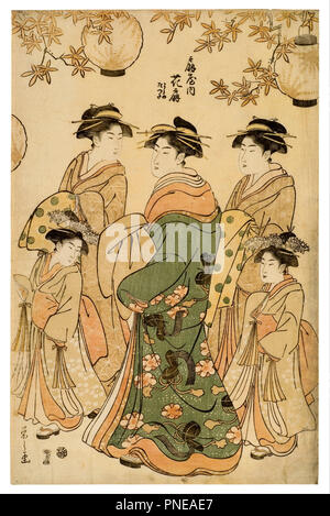 Woodcut. Date/Period: 1792 - 1793. Woodcut. Height: 370 mm (14.56 in); Width: 240 mm (9.44 in). Author: Chobunsai Eishi. - Stock Photo