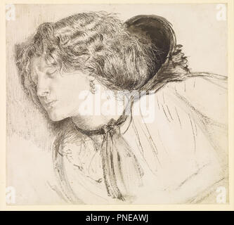 Found - Study for the Head of the Girl. Date/Period: 1859/1861. Black pen and ink with scratching out, and black and grey wash, on paper. Height: 175 mm (6.88 in); Width: 194 mm (7.63 in). Author: Dante Gabriel Rossetti. - Stock Photo