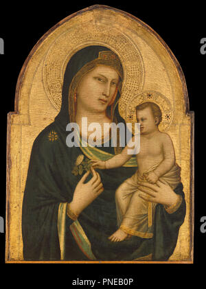 Madonna and Child. Date/Period: Probably 1320/1330. Painting. Tempera on panel. Height: 85.50 mm (3.36 in); Width: 62 mm (2.44 in). Author: GIOTTO DI BONDONE. Giotto. - Stock Photo