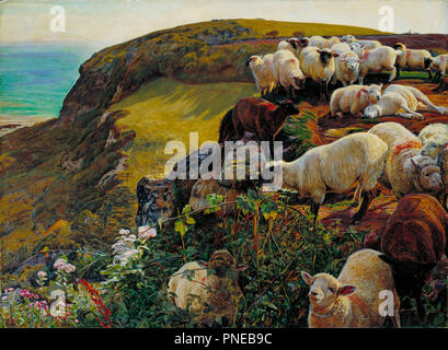 Our English Coasts or Strayed Sheep   Nos Côtes anglaises ou Moutons abandonnés. Date/Period: 1852. Painting. Oil on canvas. Height: 432 mm (17 in); Width: 584 mm (22.99 in). Author: William Holman Hunt. HUNT, WILLIAM HOLMAN. - Stock Photo