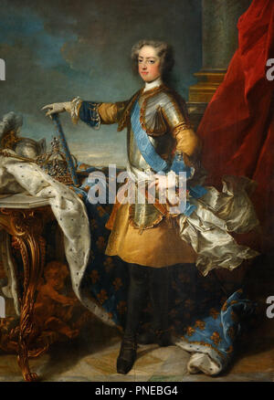 Louis XV, roi de France et de Navarre (1710-1774) / Louis XV, King of France and Navarre (1710-1774). Date/Period: Ca. 1723. Painting. Oil on canvas. Height: 205 cm (80.7 in); Width: 171 cm (67.3 in). Author: Jean-Baptiste Van Loo. VAN LOO, JEAN-BAPTISTE. LOO, JEAN BAPTISTE VAN. - Stock Photo
