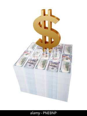 Golden dollar sign or symbol on top of stack of US dollar bills isolated in white background - Stock Photo
