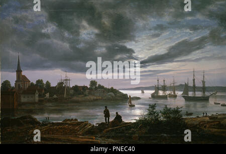 Larvik havn i måneskinn / Larvik by Moonlight. Date/Period: 1839. Painting. Oil on canvas. Height: 99 cm (38.9 in); Width: 156 cm (61.4 in). Author: JOHAN CHRISTIAN DAHL. JOHANN CHRISTIAN CLAUSEN DAHL. DAHL, JOHAN CHRISTIAN CLAUSEN. - Stock Photo