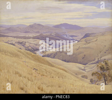 Weetangera, Canberra. Date/Period: 1937. Painting. Oil on canvas. Height: 880 mm (34.64 in); Width: 1,009 mm (39.72 in). Author: ELIOTH GRUNER. - Stock Photo