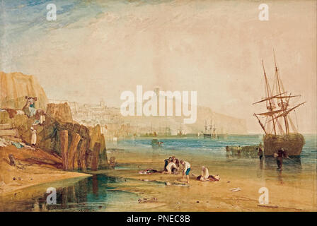 Scarborough town and castle: morning: boys catching crabs. Date/Period: Ca. 1810. Watercolour. Watercolour on paper. Height: 85 mm (3.34 in); Width: 111.70 mm (4.39 in). Author: J. M. W. Turner. TURNER, JOSEPH MALLORD WILLIAM. - Stock Photo