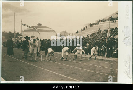 Olympic Games, 1896; preparation for the 100-meter race. Date/Period: 1896. Photograph. Height: 128 mm (5.03 in); Width: 187 mm (7.36 in). Author: Meyer Albert. MEYER, ALBERT. - Stock Photo