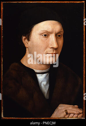 L'uomo ignoto / Portrait of an unknown Man. Date/Period: Ca. 1490. Painting. Oil on panel. Height: 35 cm (13.7 in); Width: 25 cm (9.8 in). Author: Hans Memling. MEMLING, HANS. - Stock Photo