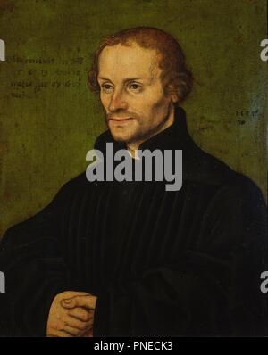 Philipp Melanchthon. Date/Period: 1532. Oil on beech wood. Height: 18.3 cm (7.2 in); Width: 15 cm (5.9 in). Author: Cranach the Elder, Lucas. - Stock Photo