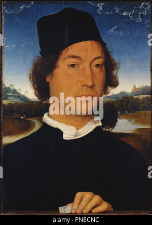 Portrait of an Unknown Man with a Letter. Date/Period: 1485/1489. Painting. Oil on panel. Width: 250 mm. Height: 350 mm. Author: Hans Memling Memling. Hans Memling. MEMLING, HANS. - Stock Photo
