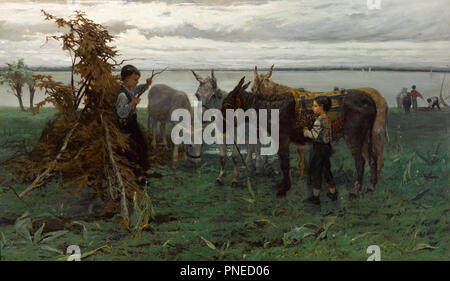 Boys herding donkeys. Date/Period: 1865. Painting. Oil, canvas, Wood, plaster frame. Height: 903 mm (35.55 in); Width: 1,380 mm (54.33 in). Author: Willem Maris. MARIS, WILLEM. - Stock Photo