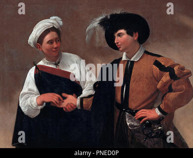 Good Luck. Date/Period: Between 1594 and 1595. Painting. Oil on canvas. Height: 1,150 mm (45.27 in); Width: 1,500 mm (59.05 in). Author: CARAVAGGIO. - Stock Photo